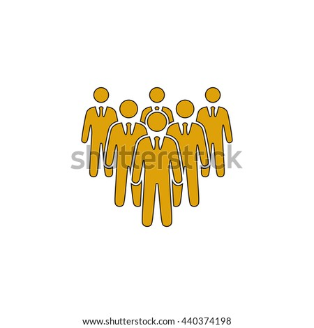 team Flat yellow thin line symbol on white background. Vector icon - stock vector