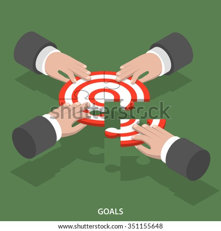 Team goals isometric flat vector concept. Four hands compose a target sign from puzzle parts. - stock vector