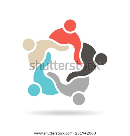 Team group of people reunited. Concept of group of people collaboration and great work. - stock vector