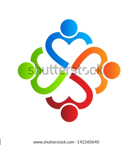 Team Heart 4 design element Vector. Group of People - stock vector