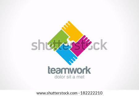 Team holding hands vector logo design template. Corporate social teamwork icon. Network creative concept sign idea. - stock vector