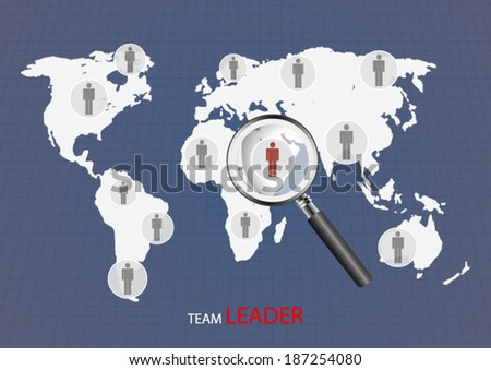 Team leader concept illustration with world map background and magnifier icon poster - stock vector
