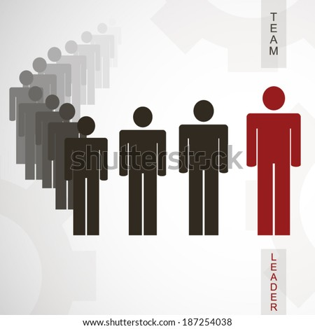 Team leader poster with silhouettes of persons and gears illustration - stock vector