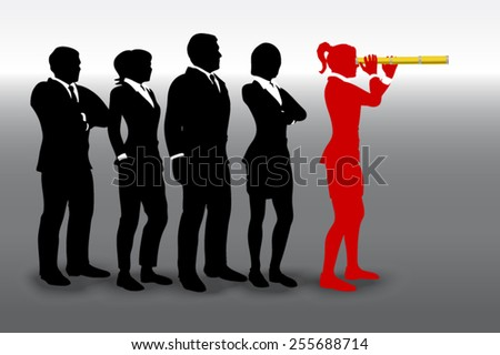 Team Leader with a spyglass. A successful team led by a great leader looking through a spyglass telescope. - stock vector