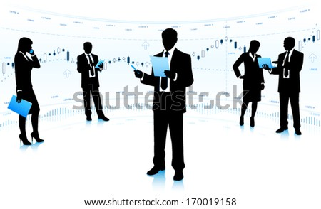 Team leader with business community. - stock vector