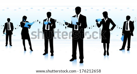 Team leader with business group. - stock vector