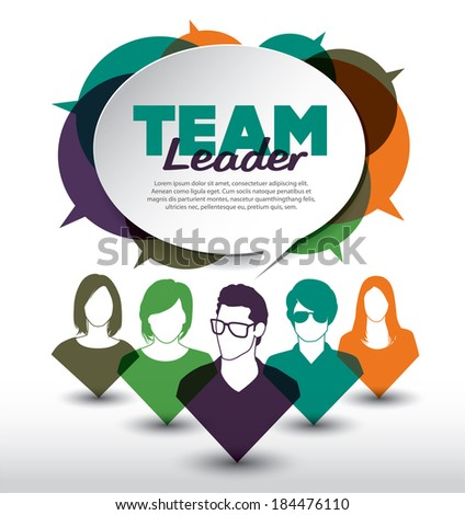 Team leader with group of people - stock vector