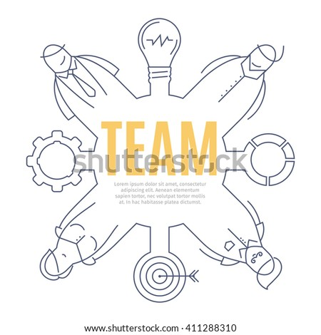 TEAM line art concept of business teamwork. Thin lined vector illustration. Design concept of team icon. Isolated vector illustration of doodle stylized on white background. Business work drawn icon. - stock vector