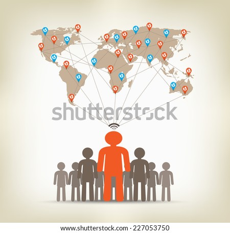 Team man global communication concept stock - stock vector