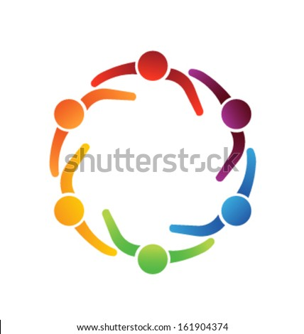 Team Meeting 6 Design Icon Vector. Group of People - stock vector