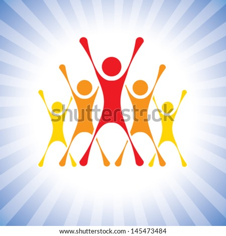 team of achievers celebrating victory in a competition- vector graphic. This illustration can also represent winners of a challenge, excited team members, thrilled people, super achievers, etc - stock vector