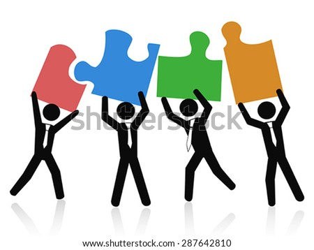Team of business people holding jigsaw puzzle pieces - stock vector