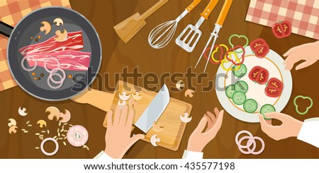 Team of chefs preparing food top view cook at the kitchen table vector illustration - stock vector