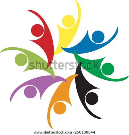 team of colorful people as circle - concept vector of teamwork. Images represents internet community, team work and team building, social media, employees meetings, office staff. - stock vector