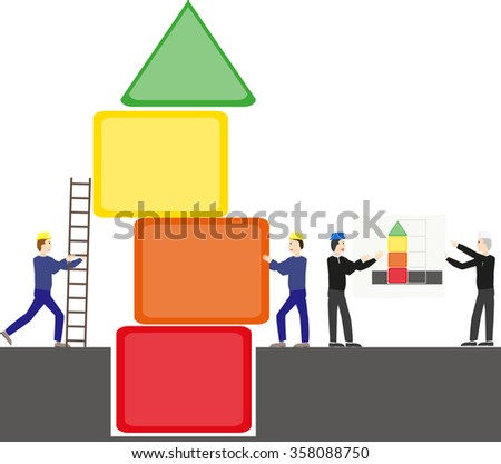Team of construction workers to build a tower of different colors.Architect's foreman instruction on plan for the red, orange, yellow and green building. - stock vector