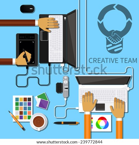Team of designers working together on a computer. Creative team. flat design style - stock vector
