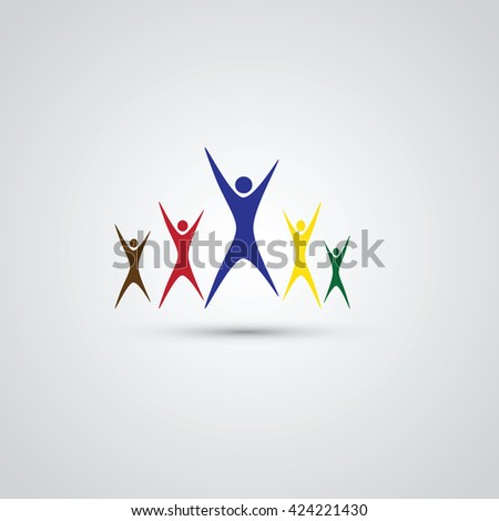 Team of five People image. Concept of Group of People, happy team, victory