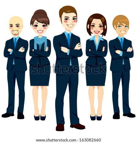 Team of five successful and confident business men and women standing with arms crossed and positive smiling expression - stock vector