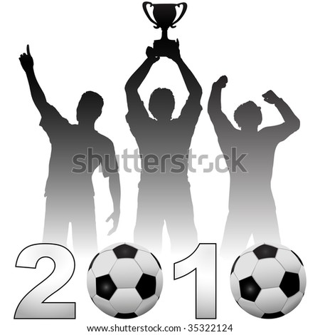 Team of football players celebrate a 2010 season soccer victory a championship trophy title game. - stock vector