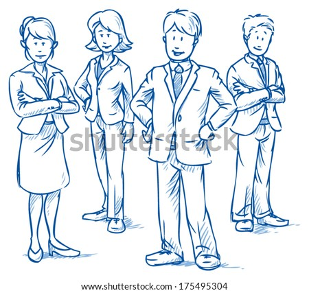 Team of four business people, two women and two men, standing and smiling, hand drawn vector illustration - stock vector