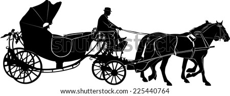 team of horses - stock vector