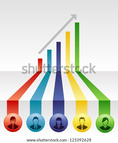 Team of people create growth in a company through cooperation - stock vector