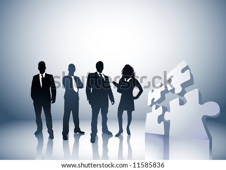Team of people with a puzzle pieces. Illustration. - stock vector