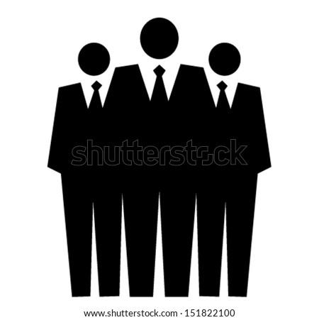 Team of professionals, leadership concept, vector illustration  three man in black suit - stock vector