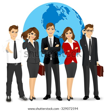team of successful businesspeople standing in front world earth globe background - stock vector