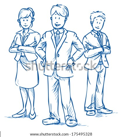 Team of three business people, two men and one woman, standing and smiling, hand drawn vector illustration - stock vector