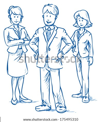 Team of three business people, two women and one man, standing and smiling, hand drawn vector illustration - stock vector