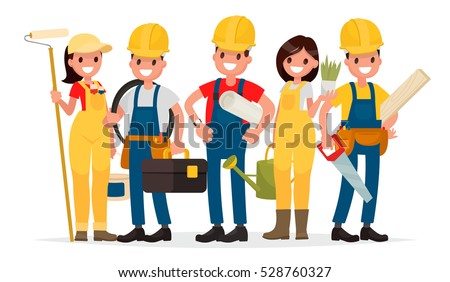 Team of workers are building a house. Foreman, painter, electrician, landscaper, carpenter. Vector illustration in flat style