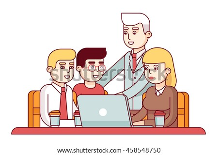 Team of young employees showing their project to chief executive manager or ceo. Business man encouraging his workers. Modern flat style thin line vector illustration isolated on white background. - stock vector