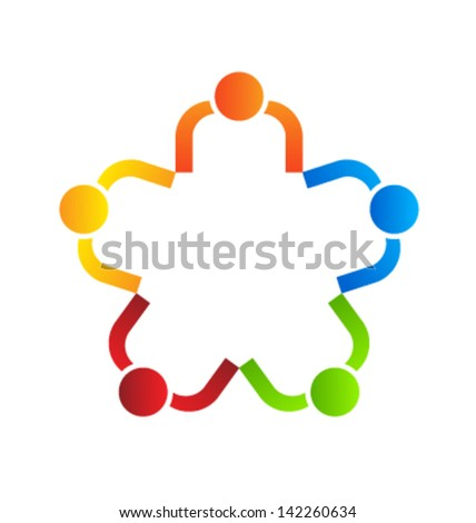 Team people reunion 5 design element vector - stock vector