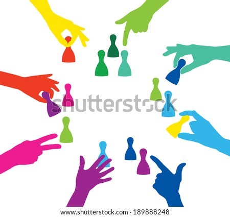Team play with colorful play figures - stock vector