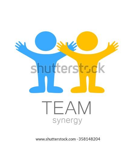Team sign - vector template. Idea for  logo,  sports logo,  team icon,  group logo,  sports team logo,  people logo. - stock vector