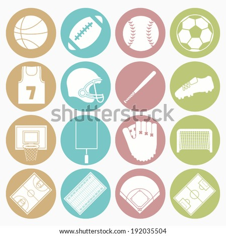 team sport icons set - stock vector
