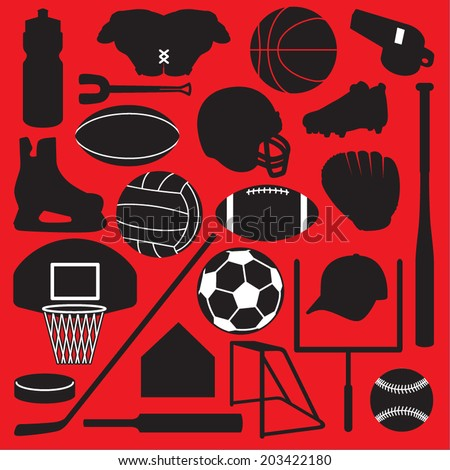 Team Sports Objects - stock vector