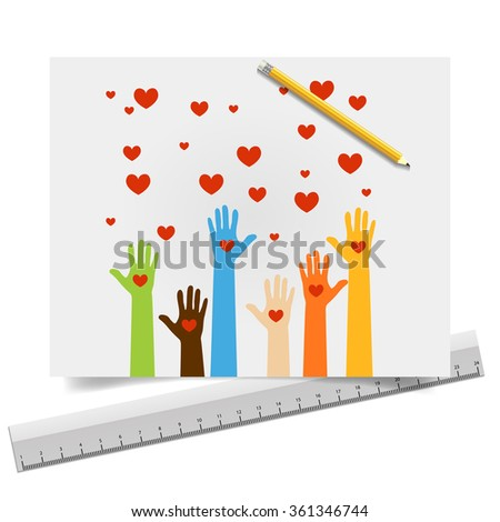 Team symbol. Multicolored hands. painted hands of peace and love. - stock vector