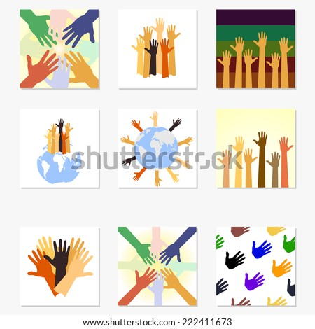 Team symbol. Multicolored hands.set