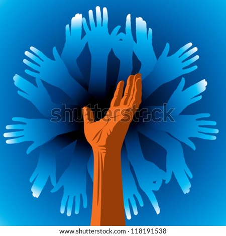 Team symbol of hands - stock vector