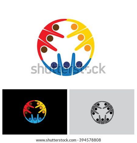 team & teamwork, excited employees, motivated people - vector icon. this icon also represents friendship, partnership cooperation, unity, excitement, happiness, euphoric, happy, joyful, jubilant - stock vector