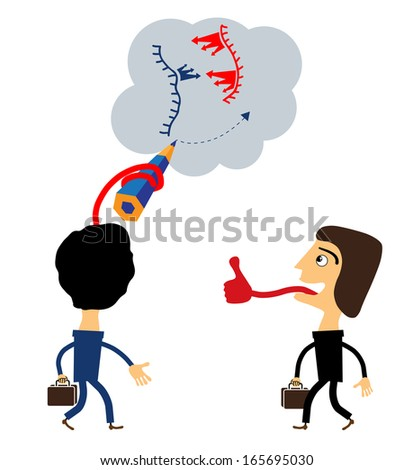 Team two businessmen stand and together develop a plan - stock vector