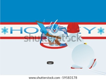 Team winter sport. Ice Hockey. Snowmen-hockey players - stock vector
