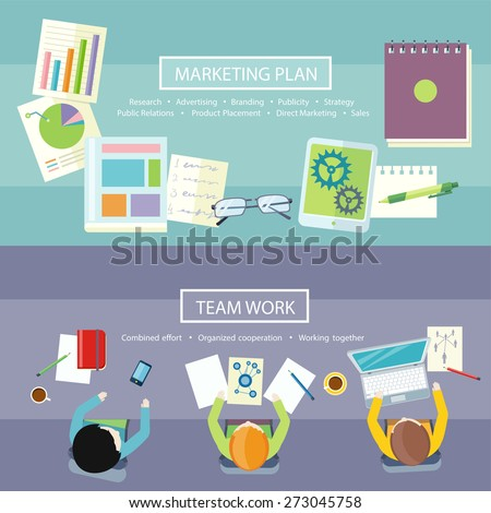 Team work coworking concept. Co-working item icons. Business meeting top view in flat design. Notebook with text marketing plan, research, advertising, branding, publicity, strategy, public relations - stock vector