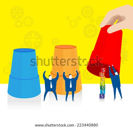 Team work : Finding the success. - stock vector
