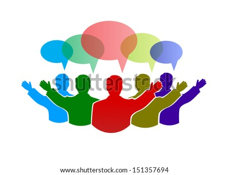 team work in a social network - stock vector