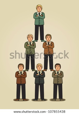 Team work in business pyramid - stock vector