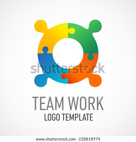 Team work logo template. Puzzled people sign. - stock vector