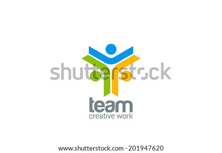 Team work vector logo design template. Internet outernet teamwork symbol.  Team, friendship, partnership, society creative Social network icon. - stock vector